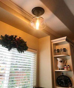 CLAXY Ecopower Vintage Metal Glass Ceiling Light 1 Lights Pendant Lighting Chandelier 0 2 300x360