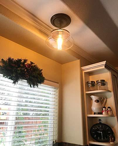 CLAXY Ecopower Vintage Metal Glass Ceiling Light 1 Lights Pendant Lighting Chandelier 0 2