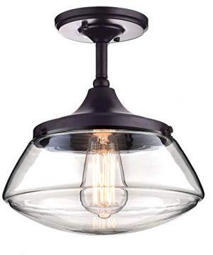 CLAXY Ecopower Vintage Metal Glass Ceiling Light 1 Lights Pendant Lighting Chandelier 0 300x360