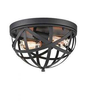 CLAXY Industrial Flush Mount Ceiling Light Black Dome Cage Light Fixture 0 300x360