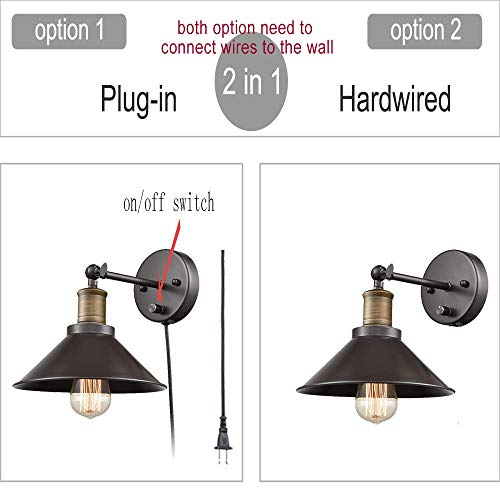 CLAXY Industrial Swing Arm Wall Sconce Simplicity 1 Light Wall Lamp 2 Pack 0 1