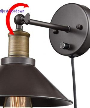 CLAXY Industrial Swing Arm Wall Sconce Simplicity 1 Light Wall Lamp 2 Pack 0 3 300x360