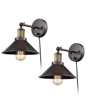 CLAXY Industrial Swing Arm Wall Sconce Simplicity 1 Light Wall Lamp 2 Pack 0 300x360