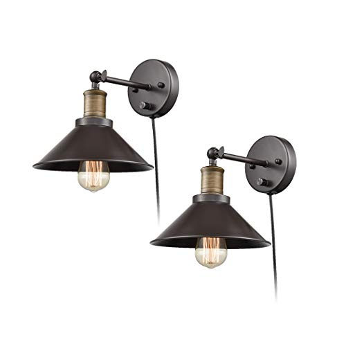 CLAXY Industrial Swing Arm Wall Sconce Simplicity 1 Light Wall Lamp 2 Pack 0