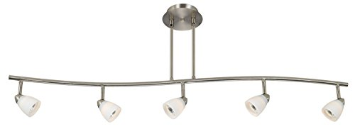 Cal Lighting SL 954 5 BSWH Track Lighting With White Glass Shades Brushed Steel Finish 0