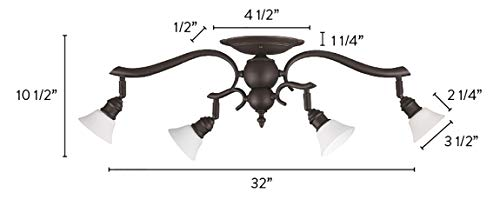 Canarm IT217A04ORB10 Addison 4 Light Dropped Track Lighting With Flat Opal Glass Shades Oil Rubbed Bronze 0 1