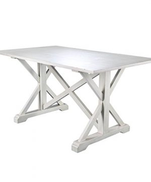 Cardwell Rectangular Dining Table Farmhouse Style W Distressed White Wood Grain Chic Design 0 300x360