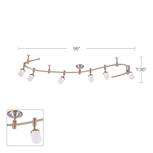 Catalina Lighting 21904 000 Transitional 6 Integrated LED Flex Track Ceiling Light Bulbs Included 96 Brushed Nickel 0 4
