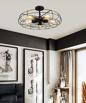 Ceiling Light MKLOT Industrial Fan Style Wrought Iron Semi Flush Mount 1811 Wide Ceiling Pendant Light Chandelier With 5 Lights Environmentally Ceramics Caps2 Pack 0 0 300x360