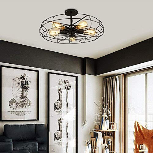 Ceiling Light MKLOT Industrial Fan Style Wrought Iron Semi Flush Mount 1811 Wide Ceiling Pendant Light Chandelier With 5 Lights Environmentally Ceramics Caps2 Pack 0 0