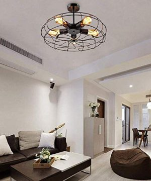 Ceiling Light MKLOT Industrial Fan Style Wrought Iron Semi Flush Mount 1811 Wide Ceiling Pendant Light Chandelier With 5 Lights Environmentally Ceramics Caps2 Pack 0 3 300x360