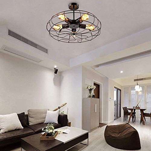 Ceiling Light MKLOT Industrial Fan Style Wrought Iron Semi Flush Mount 1811 Wide Ceiling Pendant Light Chandelier With 5 Lights Environmentally Ceramics Caps2 Pack 0 3