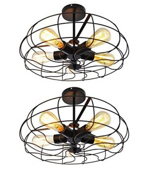 Ceiling Light MKLOT Industrial Fan Style Wrought Iron Semi Flush Mount 1811 Wide Ceiling Pendant Light Chandelier With 5 Lights Environmentally Ceramics Caps2 Pack 0 300x360