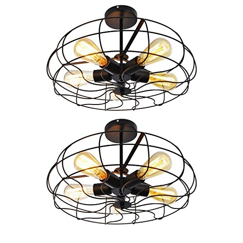 Ceiling Light MKLOT Industrial Fan Style Wrought Iron Semi Flush Mount 1811 Wide Ceiling Pendant Light Chandelier With 5 Lights Environmentally Ceramics Caps2 Pack 0
