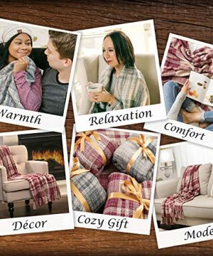 Chanasya Farmhouse Pattern Plaid Throw Blanket Lightweight Knit Textured Woven Decorative Blanket For Sofa Couch Bed Living Room Blanket With Tassels Fringed Throw Blanket 50x65 Inches Gray Blue 0 3 300x360