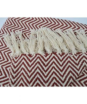 Chardin Home 100 Cotton Chevron Blanket Throw With Fringe For Chair Couch Picnic Camping Beach Everyday Use 50 X 60 RustIvory 0 2 300x360