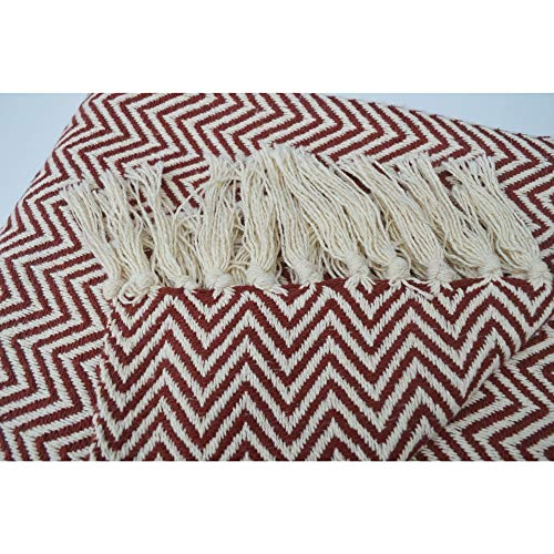 Chardin Home 100 Cotton Chevron Blanket Throw With Fringe For Chair Couch Picnic Camping Beach Everyday Use 50 X 60 RustIvory 0 2
