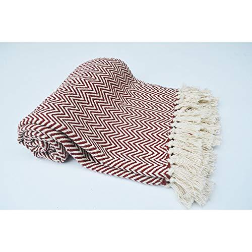 Chardin Home 100 Cotton Chevron Blanket Throw With Fringe