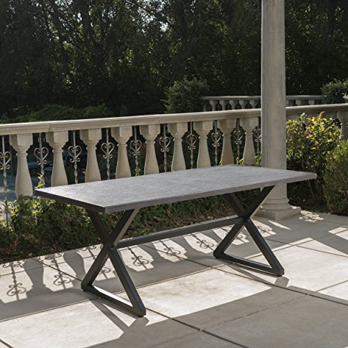 Christopher Knight Home 302486 Rolando Outdoor Grey Aluminum Dining Table With Black Steel Frame 0 0