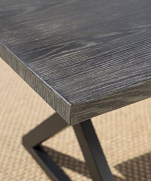 Christopher Knight Home 302486 Rolando Outdoor Grey Aluminum Dining Table With Black Steel Frame 0 1 300x360