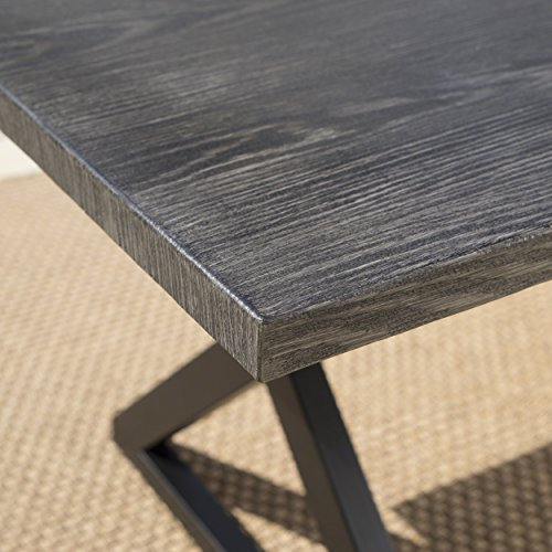 Christopher Knight Home 302486 Rolando Outdoor Grey Aluminum Dining Table With Black Steel Frame 0 1