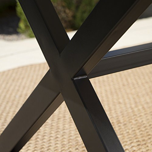 Christopher Knight Home 302486 Rolando Outdoor Grey Aluminum Dining Table With Black Steel Frame 0 2