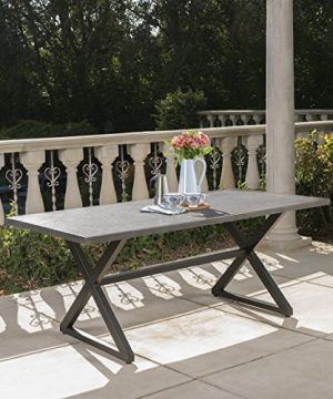Christopher Knight Home 302486 Rolando Outdoor Grey Aluminum Dining Table With Black Steel Frame 0 300x360
