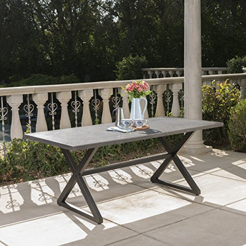Christopher Knight Home 302486 Rolando Outdoor Grey Aluminum Dining Table With Black Steel Frame 0