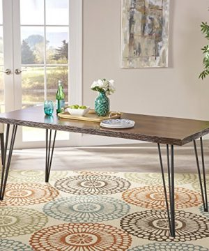 Christopher Knight Home Aneissa Industrial Faux Live Edge Rectangular Dining Table Natural Black 0 300x360