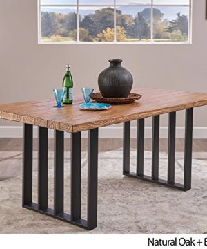 Christopher Knight Home Jasmine Indoor Farmhouse Natural Oak Finish Light Weight Concrete Dining Table Black 0 0 300x360