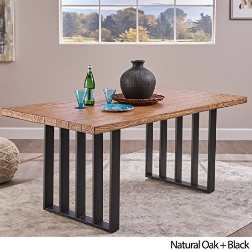 Christopher Knight Home Jasmine Indoor Farmhouse Natural Oak Finish Light Weight Concrete Dining Table Black 0 0