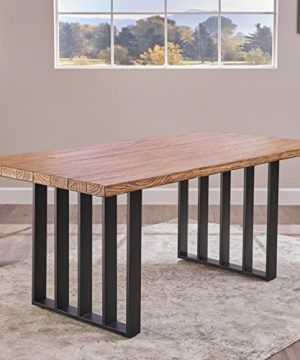 Christopher Knight Home Jasmine Indoor Farmhouse Natural Oak Finish Light Weight Concrete Dining Table Black 0 1 300x360