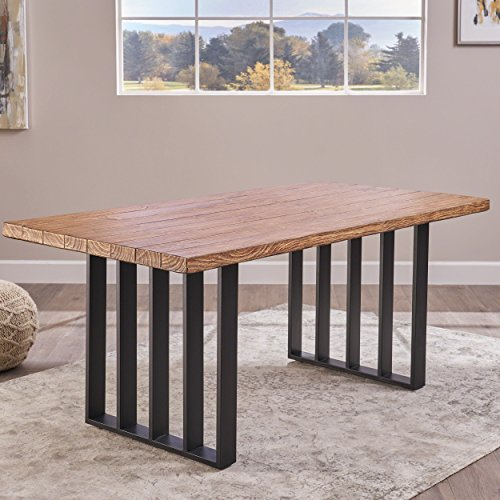 Christopher Knight Home Jasmine Indoor Farmhouse Natural Oak Finish Light Weight Concrete Dining Table Black 0 1
