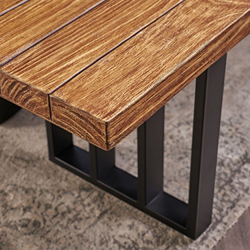 Christopher Knight Home Jasmine Indoor Farmhouse Natural Oak Finish Light Weight Concrete Dining Table Black 0 3