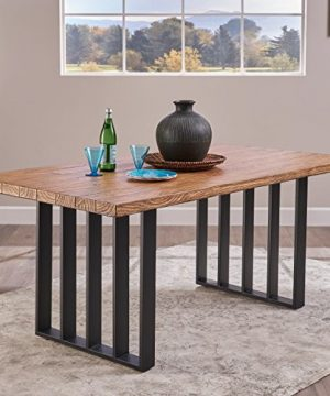 Christopher Knight Home Jasmine Indoor Farmhouse Natural Oak Finish Light Weight Concrete Dining Table Black 0 300x360