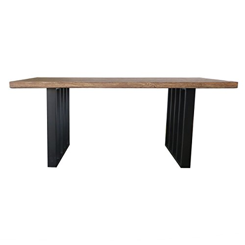 Christopher Knight Home Jasmine Indoor Farmhouse Natural Oak Finish Light Weight Concrete Dining Table Black 0 4