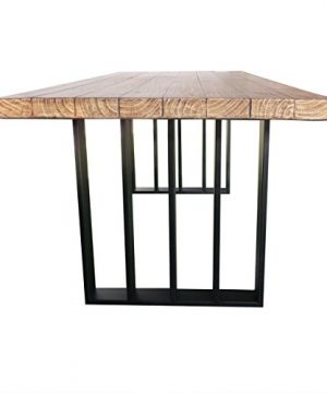 Christopher Knight Home Jasmine Indoor Farmhouse Natural Oak Finish Light Weight Concrete Dining Table Black 0 5 300x360