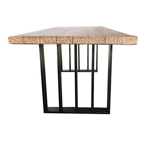Christopher Knight Home Jasmine Indoor Farmhouse Natural Oak Finish Light Weight Concrete Dining Table Black 0 5