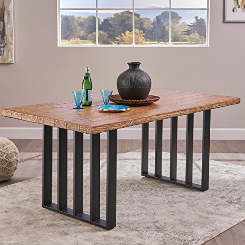 Christopher Knight Home Jasmine Indoor Farmhouse Natural Oak Finish Light Weight Concrete Dining Table Black 0