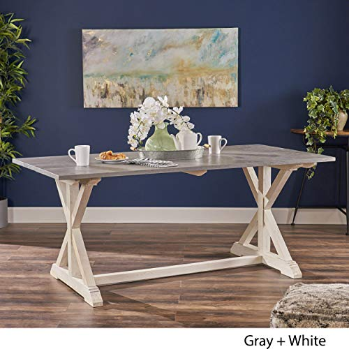 Christopher Knight Home Robison Mango Wood Dining Table Gray And White Farmhouse Goals