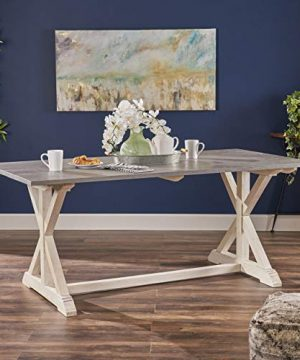 Christopher Knight Home Robison Mango Wood Dining Table Gray And White 0 300x360