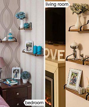 Clarkes Decor Floating Shelves Wall Shelves Set Of 3 Hanging Wood Shelves For Bedroom Bathroom Or Kitchen Wall Shelf With Hooks Small Home Rustic Bookshelf Long Mounted Rod 0 1 300x360