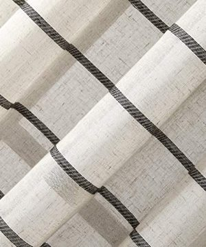 Clean Window Twill Stripe AllergyPet Friendly Anti Dust Sheer Curtain Panel 52 X 84 BlackLinen 0 2 300x360