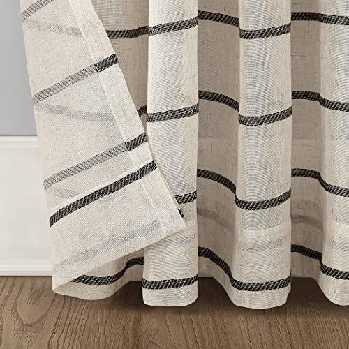 Clean Window Twill Stripe AllergyPet Friendly Anti Dust Sheer Curtain Panel 52 X 84 BlackLinen 0 3