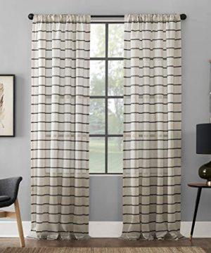 Clean Window Twill Stripe AllergyPet Friendly Anti Dust Sheer Curtain Panel 52 X 84 BlackLinen 0 300x360