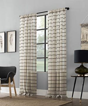 Clean Window Twill Stripe AllergyPet Friendly Anti Dust Sheer Curtain Panel 52 X 84 BlackLinen 0 4 300x360