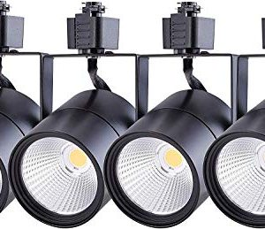 Cloudy Bay LED Track Light HeadCRI 90 4000K Cool White DimmableAdjustable Tilt Angle Track Lighting Fixture20W 40 Angle For Accent RetailBlack Finish Halo Type 4 Pack 0 300x259