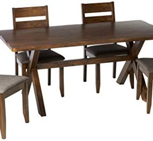 Coaster Home Furnishings Alston 5 Piece Dining Set With Trestle Table Knotty Nutmeg And Grey 0 300x276