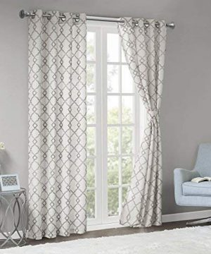 Comfort Spaces Bridget Faux Linen Fretwork Window Curtain Embroidery Design Grommet Top Panel Pair With Tie Backs 50x84 Grey 0 0 300x360