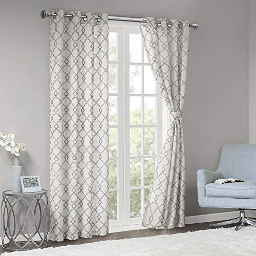 Comfort Spaces Bridget Faux Linen Fretwork Window Curtain Embroidery Design Grommet Top Panel Pair With Tie Backs 50x84 Grey 0 0